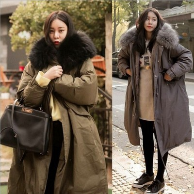 2018 Winter Coat Women Large Fur Collar Hooded Long Jacket Thick Warm Korean Padded   Parka   Oversized Military   Parka