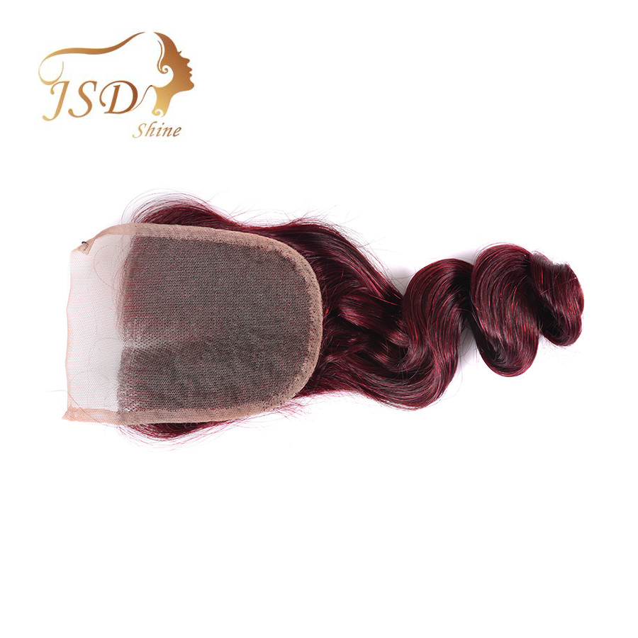 JSDshine Peruvian Human Hair Burgundy Lace Closure Loose Wave Human Hair Closure 99j Red Color Non-remy Hair Extensions