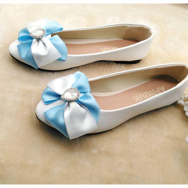 Plat Bleu Papillon Ornement noeud Ballet Sur Plus Dame 40 Chaussures Arc Glissement Doux Blanc Femme La Appartements Ballerine Fille Taille 41 Des FTlK1cJ3
