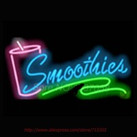 Smoothies Cup Signboard Neon Sign Store Display Neon Bulbs Real Glass Tube Recreation Room Advertisement Sign