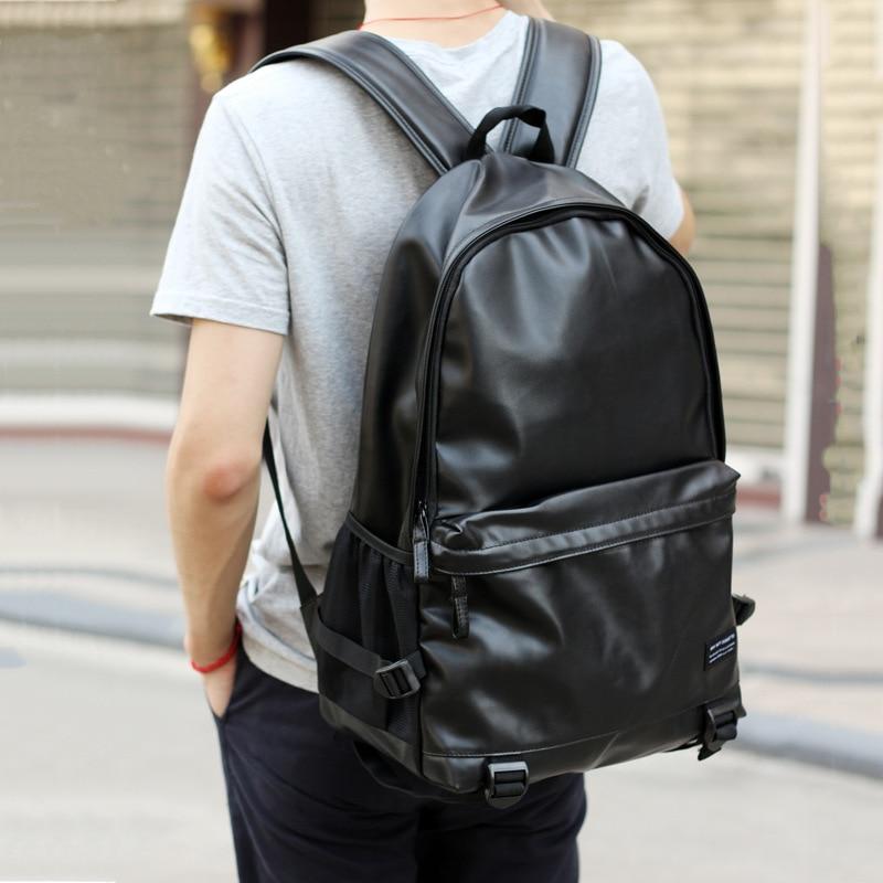 2017 Sacos De Escola Para Adolescentes Mochilas Couro Preto Dos Homens Colégio Bookbag Laptop