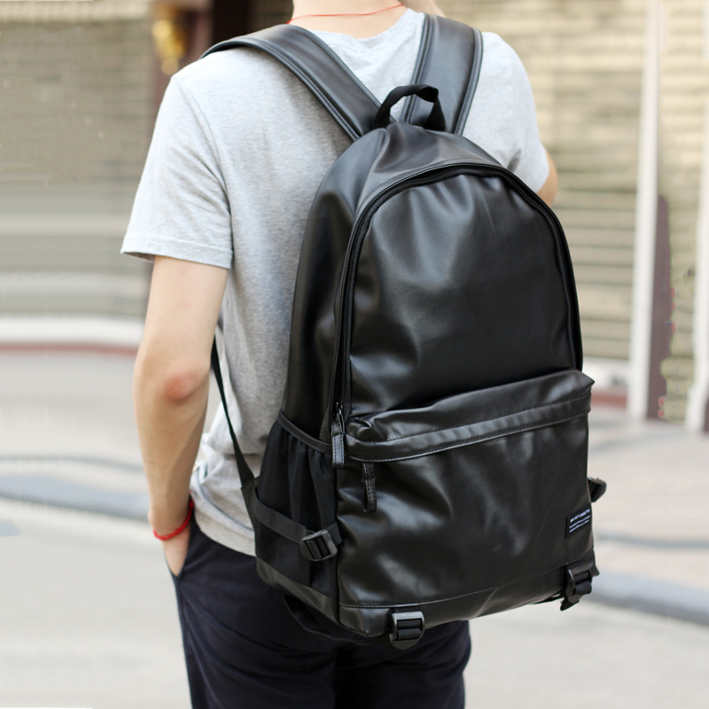 2019 Men Leather Backpacks Black School Bags for Teenagers Boys College Bookbag Laptop Backpacks Travel Bags mochila masculina