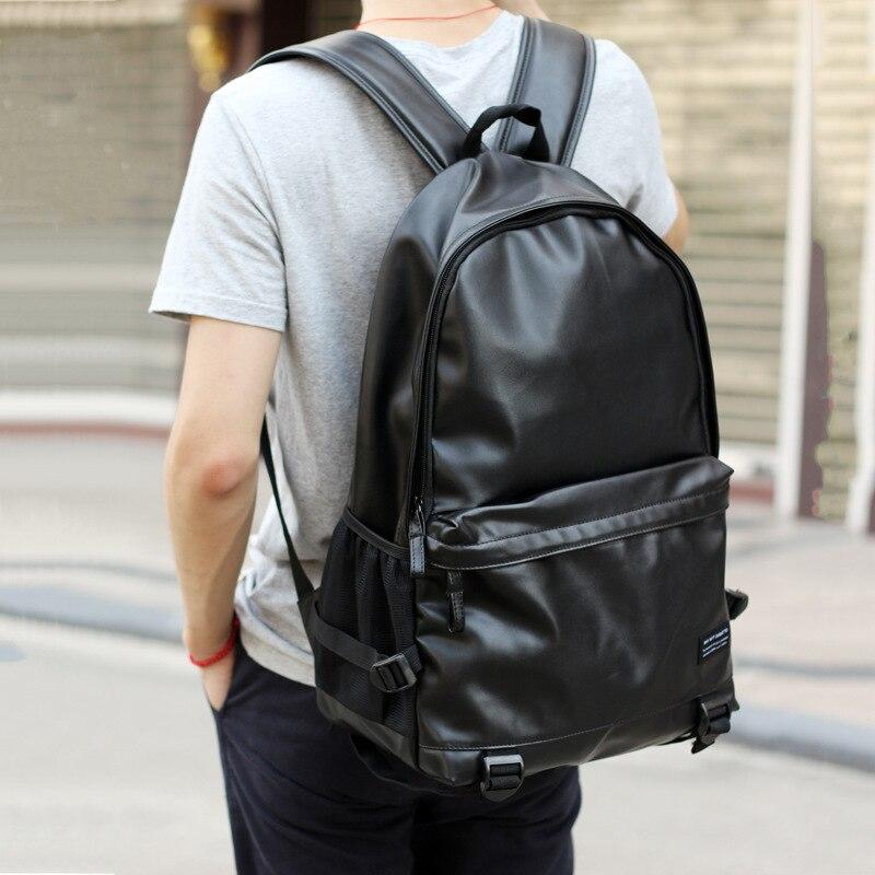2019 hommes sacs à dos en cuir noir sacs d'école pour adolescents garçons collège Bookbag sacs à dos d'ordinateur portable sacs de voyage mochila masculina