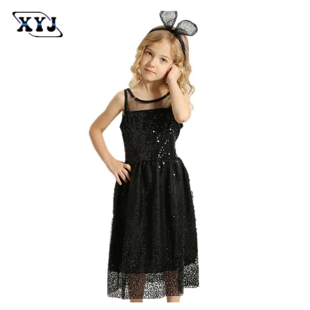 2017 Children Girls Summer Party Dress Girls Black Dresses ...