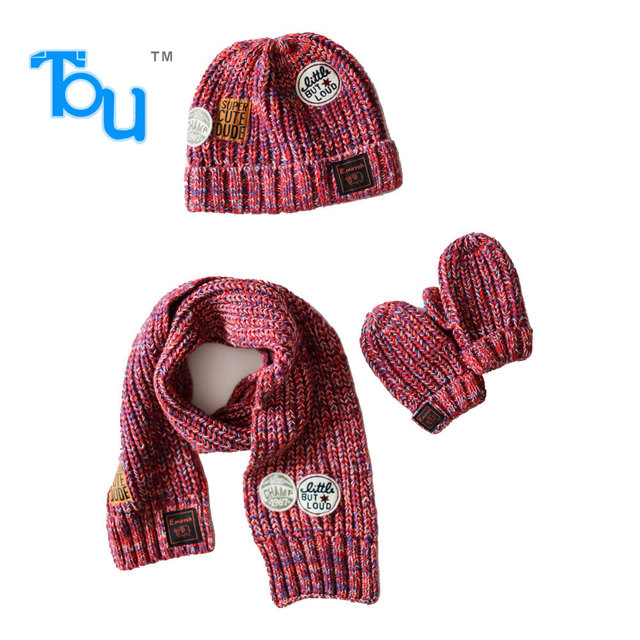 887c13707e745 Tou Kid Boy and Girls Winter Hat Scarf and Glove Sets Suits Kid hats  Crochet Hats Suites cotton 2-6T