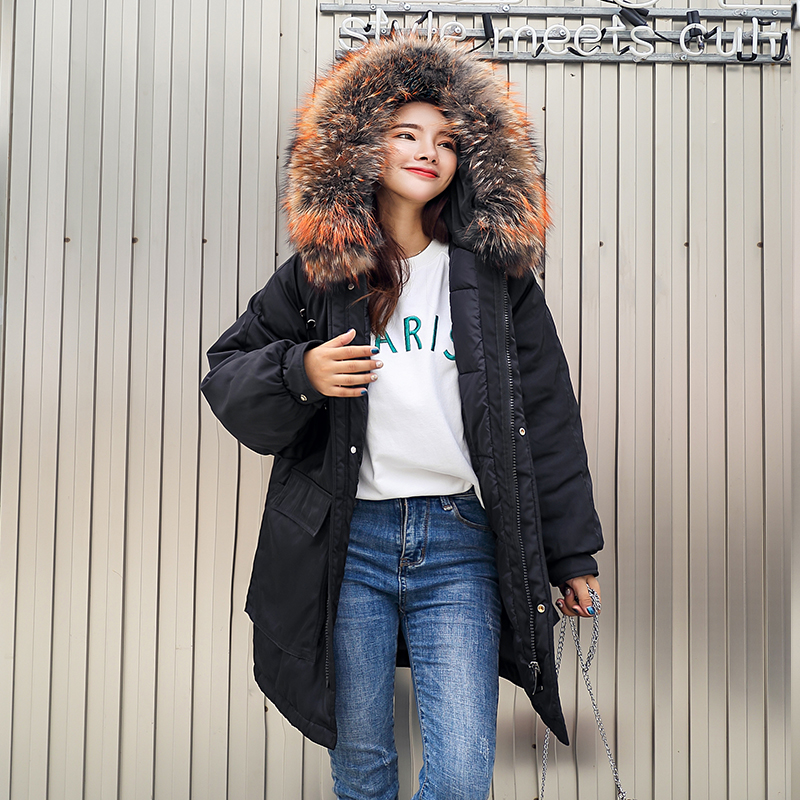 Nouveauté 2019 Grand D'hiver Bas Long Noir Col Parkas Épaissir Capuche Vers army Coton Green Manteau Fourrure Femmes Avec Manteaux Femme Chaud Le Veste De Parka À 0ZxZwY