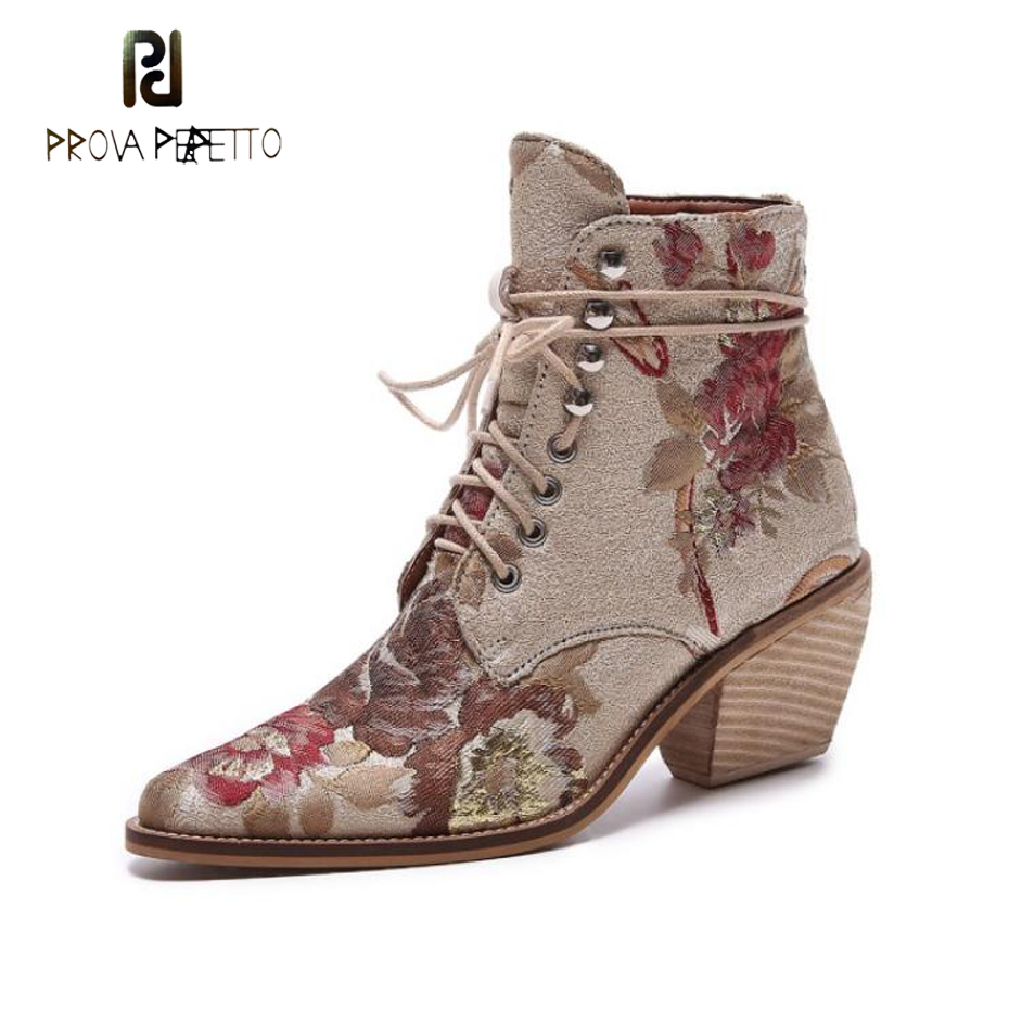 Prova Perfetto fashion ethnic style embroided ankle boots women pointed toe chunky high heel flower lady street snap short boots hollow pointed lady rough heel short boots