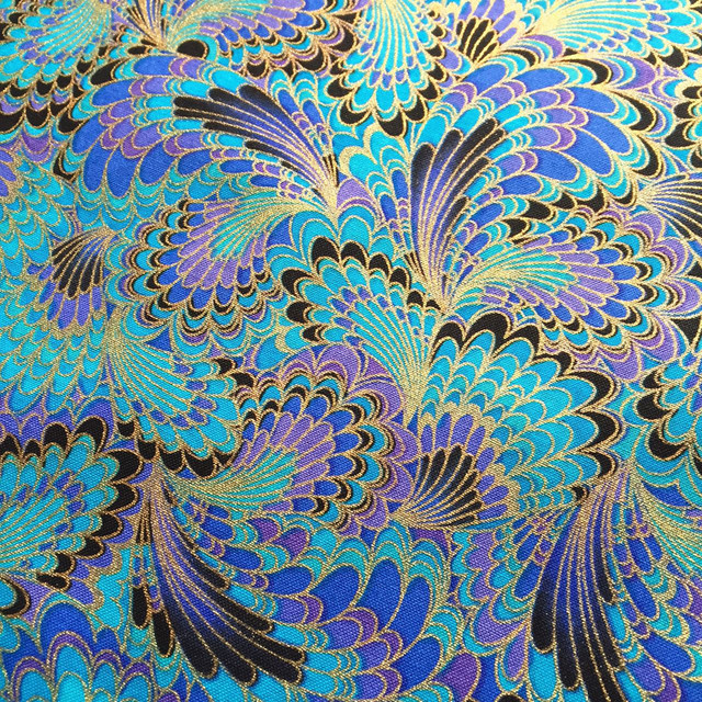 Peacock Feather Pattern Fabric Retro Style Fabric Calico Printed Cotton Bronzed Fabric For Diy Bag 1