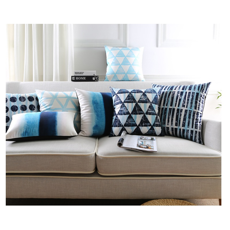 Stile nordico Cuscini Home Decor Cuscini Decorativi Caso Velvet Throw  Pillow Blue Geometrica Cuscino per Divano 45*45 cm