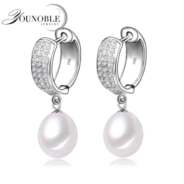 YouNoble pequeños pendientes de aro de plata para las mujeres, aro de la manera joyería de la boda hija mejor regalo de la muchacha de calidad superior blanco