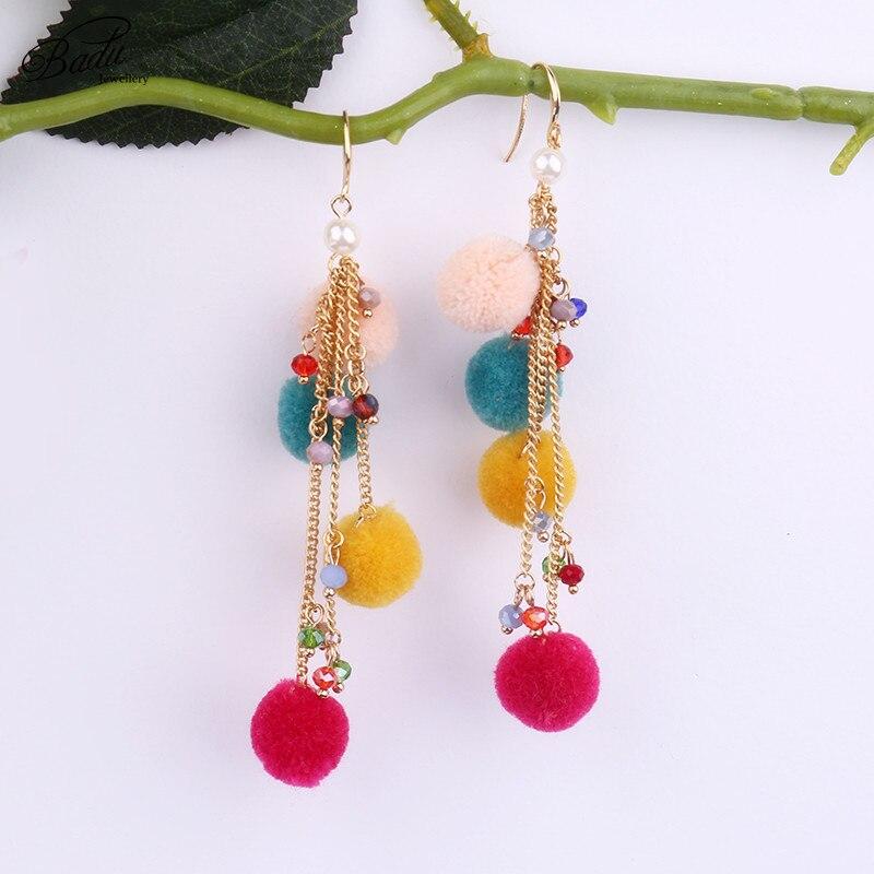 Badu Long Pom Pom Earrings Bohemian Colorful Dangle Eardrop Cotton ...
