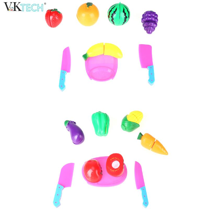 8pcs Kitchen Foot Vegetable Fruit Cutting Toys Kids Pretend Paly Educational Cooker Role Cosplay Playing Toy For Children Gift