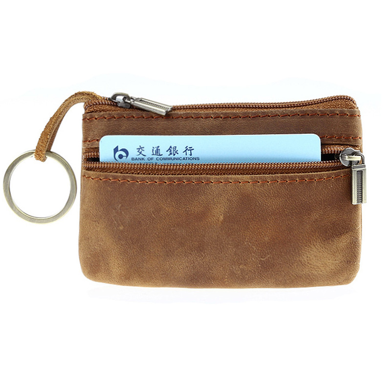 eTya Men Coin Bag Zipper Male Wallet Coin Holder Purses Genuine Leather Money Key Credit Card Holder Case Pouch Bags vintage genuine leather key wallet men keychain covers zipper key case bag men key holder housekeeper keys organizer