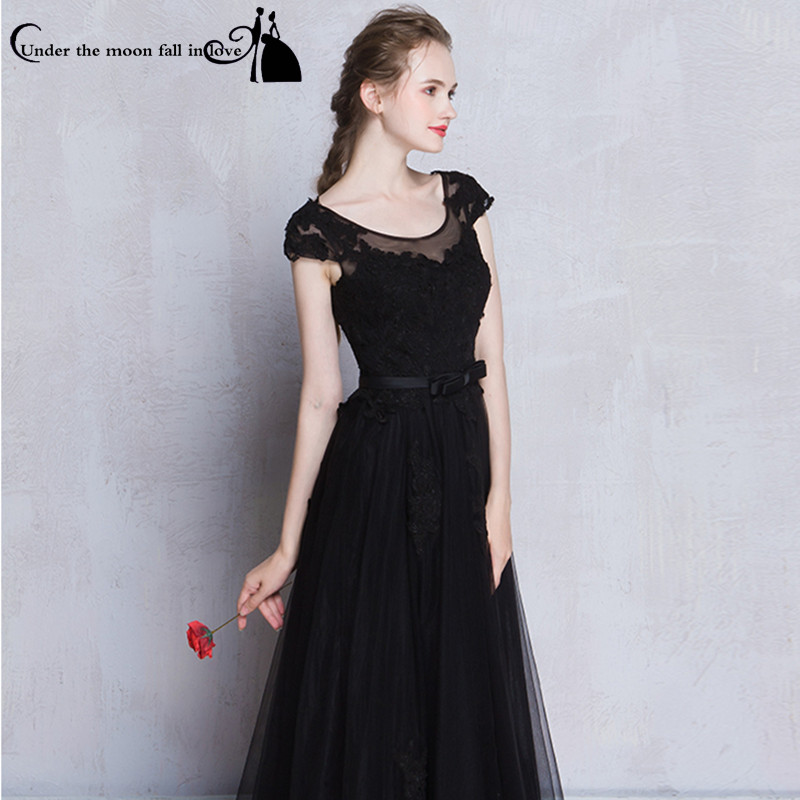 Elegant Scoop Lace Appliques Short Sleeves A Line Black Long Evening ...
