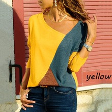 Women s shirt blusas Casual O Neck Splicing Color Collision Long Sleeves Plus Size Easy Tops
