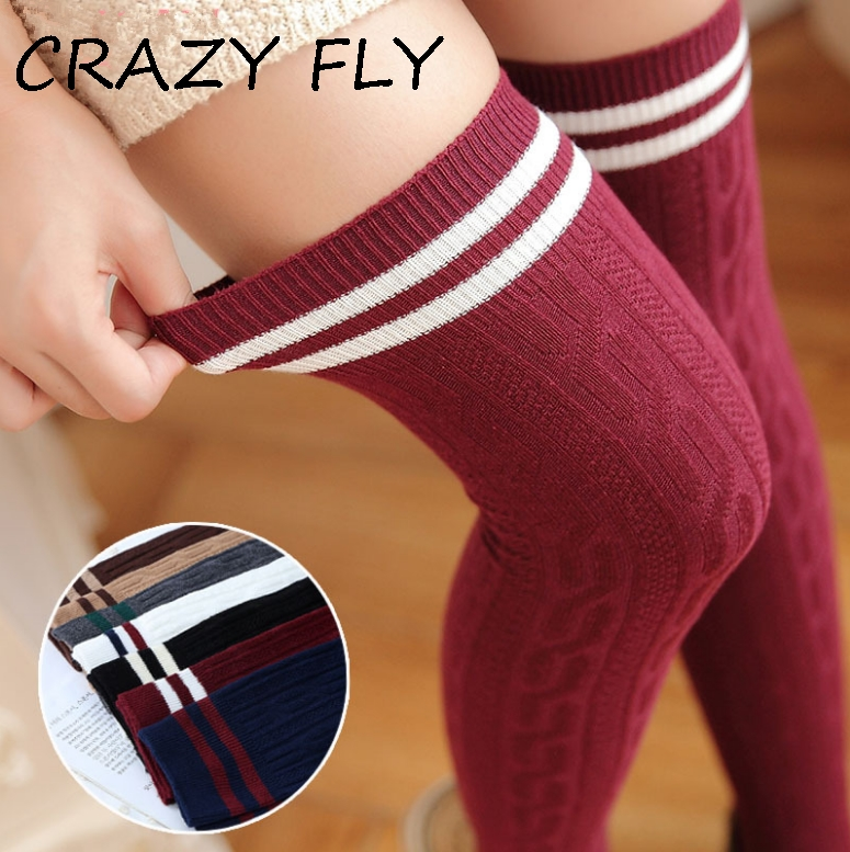 CRAZY FLY Sexy Knee Socks Long Red White Black Cotton Striped Long Socks Casual Breathable Ladies High Overknee Socks 2019