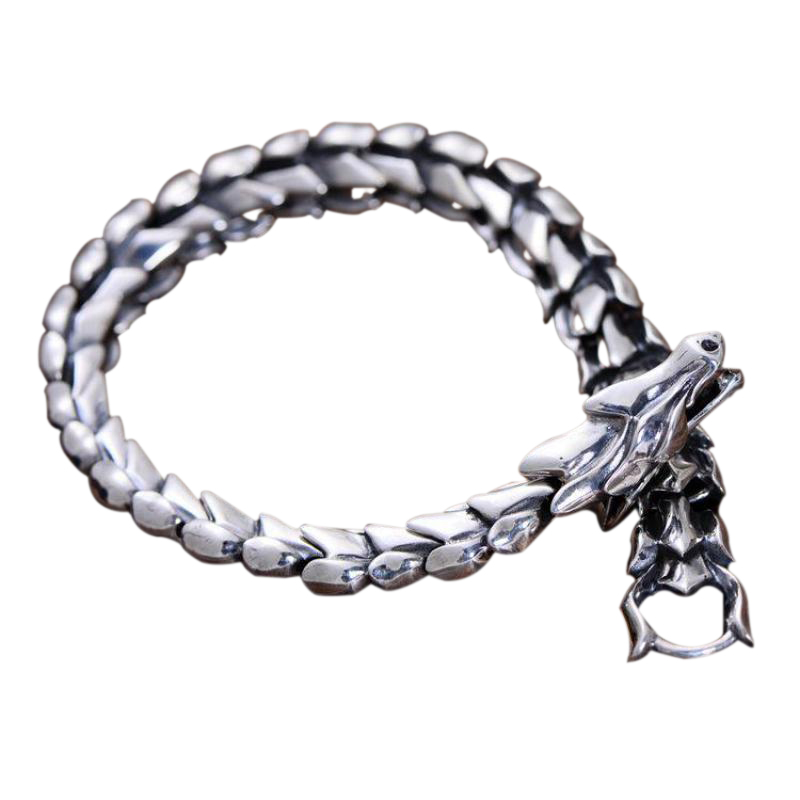 Genuine Sterling Silver Jewelry Heavy Dragon Scale Bracelet For Men CM Vintage