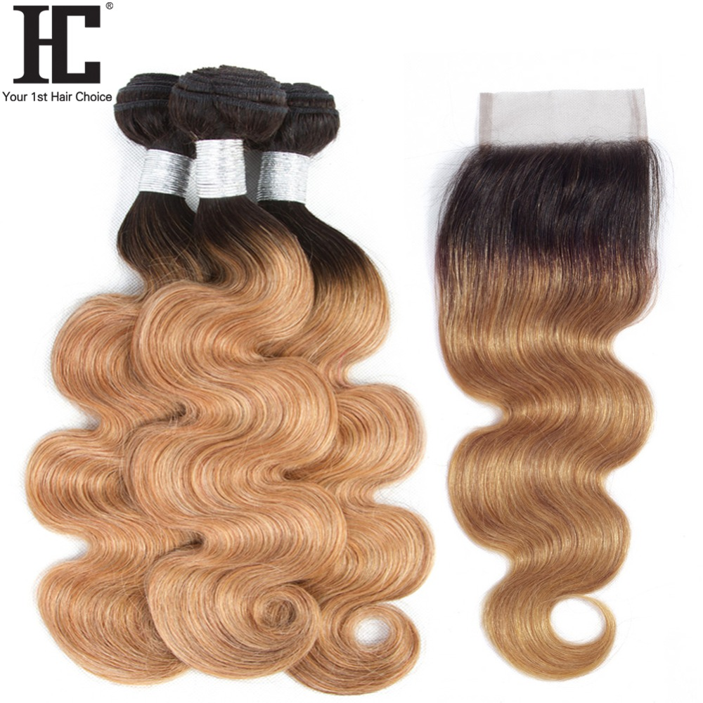 3 Bundles Ombre Brazilian Hair Bundles With Closure T1B 27 Dark Root Honey Blonde Body Wave