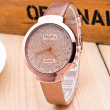 2017 Hot New Brand Women Imitation frosted dress clock Fashion Casual women watch Leather Belt Quartz watches relogio feminino