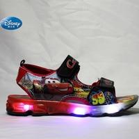 Disney Kids Cars Sandals With LED Light McQueen Cartoon Shoes Summer Children Pu Sport Beach Shoes