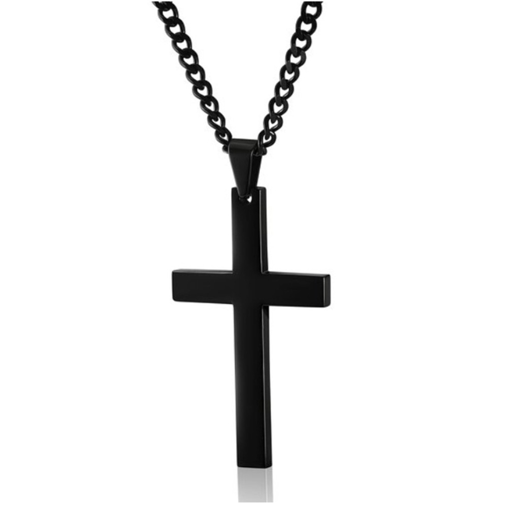 Stainless Steel Titanium Faith Crucifix Cross Pendant Necklace Choker Gold/Black Chain For Men Women Jewelry Jesus Prayer