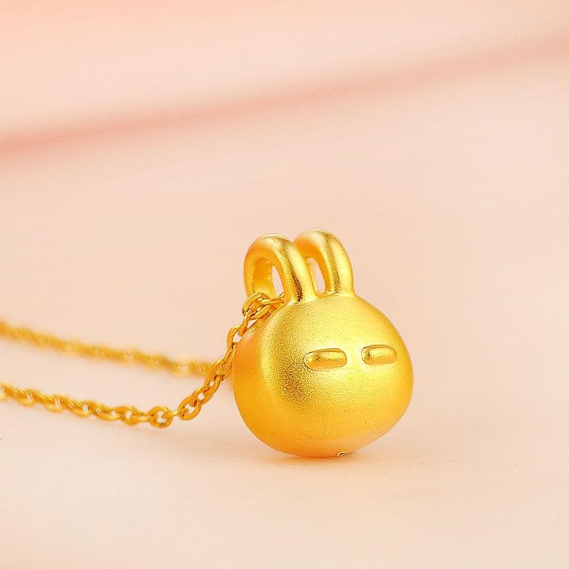 Hot Sale Authentic 24K Yellow Gold Pendant/3D Lucky Rabbit Pendant / 1-2g hot sale new pure 24k yellow gold pendant 3d craft lucky number 3 pendant 1 68g