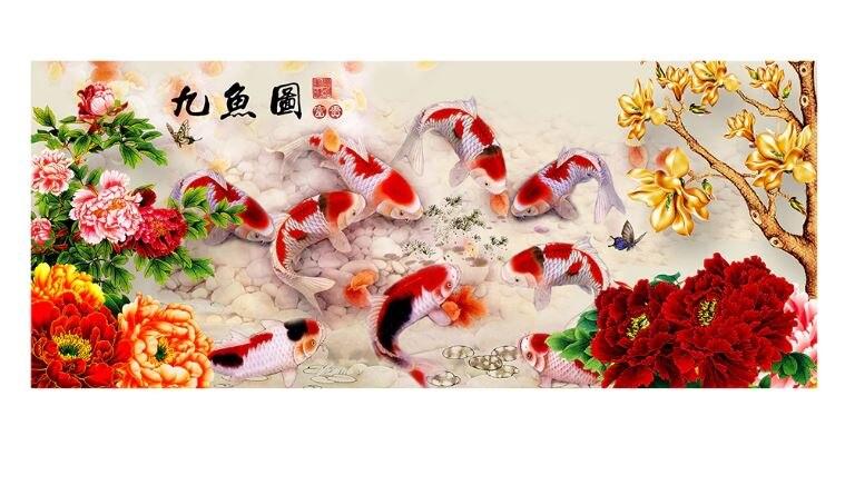 3d diy الماس اللوحة تسعة الأسماك التطريز عبر غرزة الحيوان جزئية جولة الماس زهرة الصورة ورق حائط غرفة ديكور-في غُرزات تطريز للرسم بالماس من المنزل والحديقة على  مجموعة 1