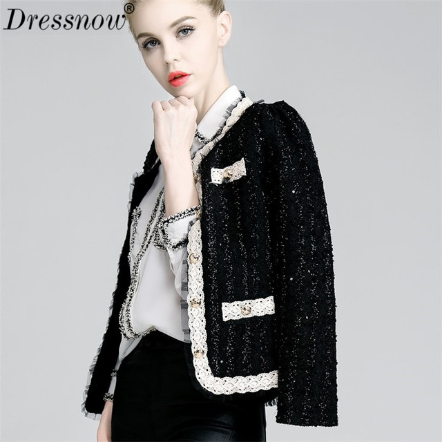 Dressnow Women Slim Short Tweed Jacket Ladies O Neck Crop Top Jackets Single Breasted Button Beading Pearls Crop Tops