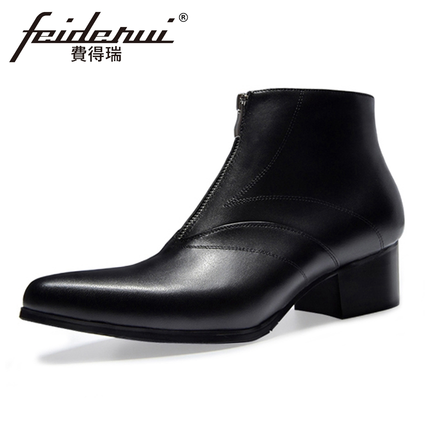 Full Grain Genuine Leather Mens Ankle Boots Pointed Toe High Heels Footwear High-Top Zip Handmade Man Cowboy Martin Shoes HQS278