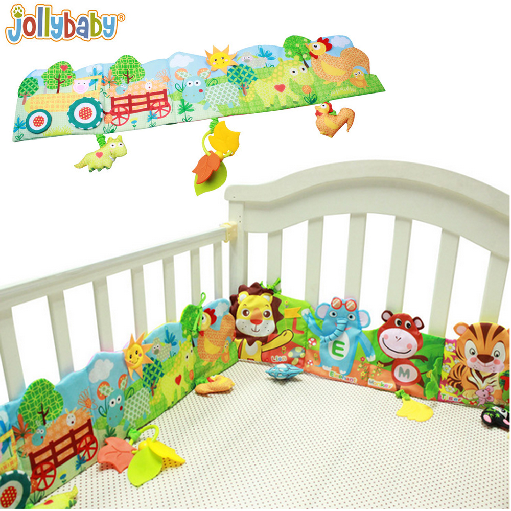 1pcs Jollybaby Baby Bed Crib Bumper Cartoon Animal Cloth Book Educational Knowledge Around Multi-touch For Fun Plush Toy with Te 4pcs set cartoon animal baby cloth book knowledge around multi touch multifunction fun and double color colorful bed bumper