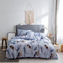 Papa&Mima feather print Egyptian cotton Queen King size Luxurious bedding set duvet cover flat sheet pillowcases