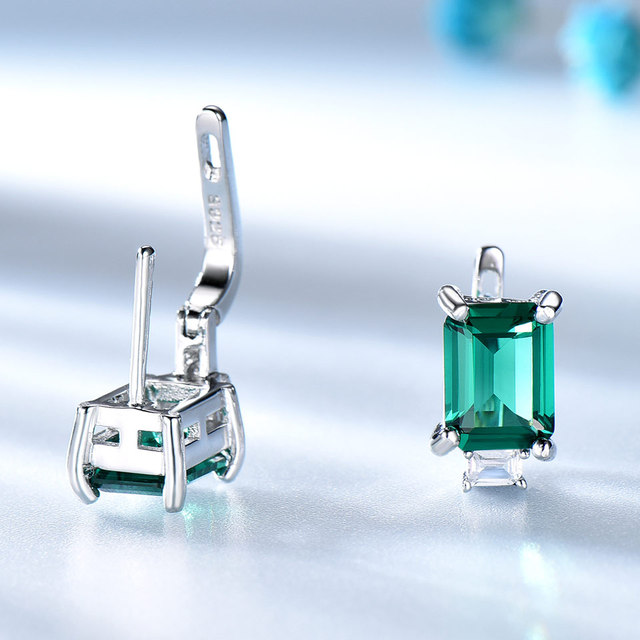 UMCHO Solid 925 Sterling Silver Clip Earrings for Women Luxury Emerald Green Gemstone Jewelry Princess Cut May Birthstone Gift