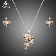 AZORA My Fox Lady Rose Gold Color Austrian Rhinestone Paved Fox Pendant Necklace and Earring Set TG0074
