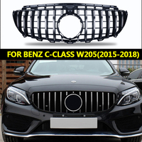 For Benz W205 C class 2015 2018 GT AMG GTR Diamond Front GT R Grill for c200 c250 c300 C63S Grille front bumper front grille