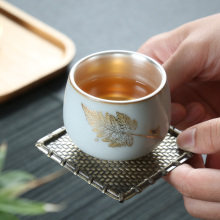 1 pcs Chinese ceramic hand-painted Kung Fu personal teacup interior 999 silver beautifully patterned kitchen supplies