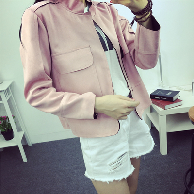 HOT SALE!2016 New Retro Early Autumn Suede Casual Jacket Women All-Match Military Green Cardigan Coat 6 Colors  SIZE S~L
