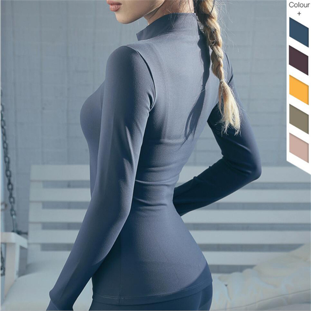 2019 Hot sale compression womens quick dry running sports t-shirt sexy fitness yoga gym tshirt front zipper long sleeve shirt 3