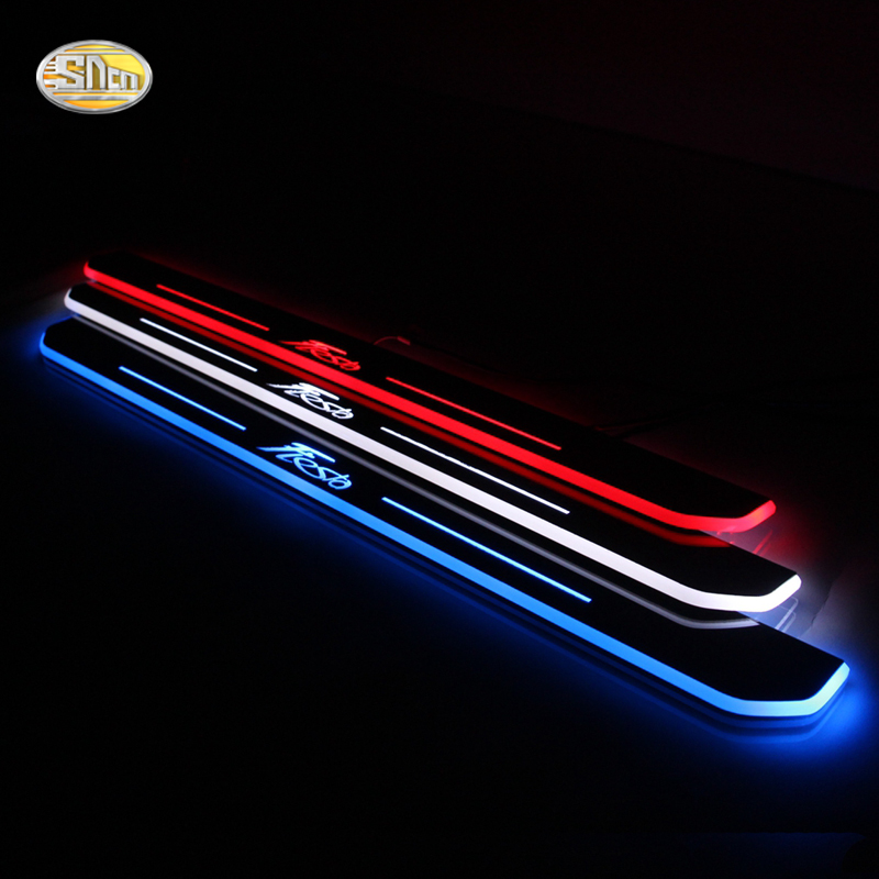 SNCN LED door sill for Ford Fiesta 2013 2014 2015 2016 Led moving door scuff plate welcome pedal accessories stainless steel led scuff plate door outside sills trim car accessories welcome pedal for ford kuga 2013 2014