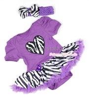 Valentine violet combinaison Zebra coeur bébé fille robe violet Zebra jupe ensemble NB-12M MAJSA0355