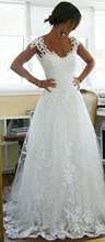 Free Shipping Best Selling A-Line V-Neck Vestidos De Noiva 2015 Appliques Transparent Back Sweep Train Wedding Dresses  MF021