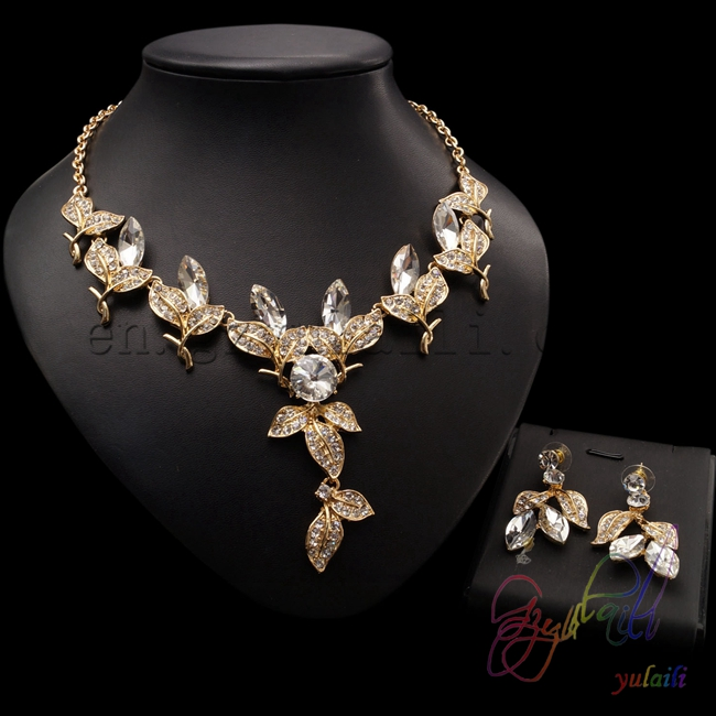 dancing stone jewelry sets small crystal beads jeweley set Fashion Costume Jewellery set for girls