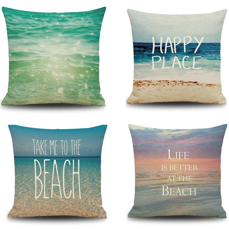 3D Modern Clear Blue Green Sea Ocean White Beach Sky Linen Cotton Burlap  Decorative Pillow Cases Sofa Seat Car Cushion Covering