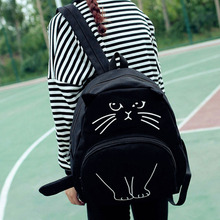Canvas Backpack with Lovely Cat Pattern