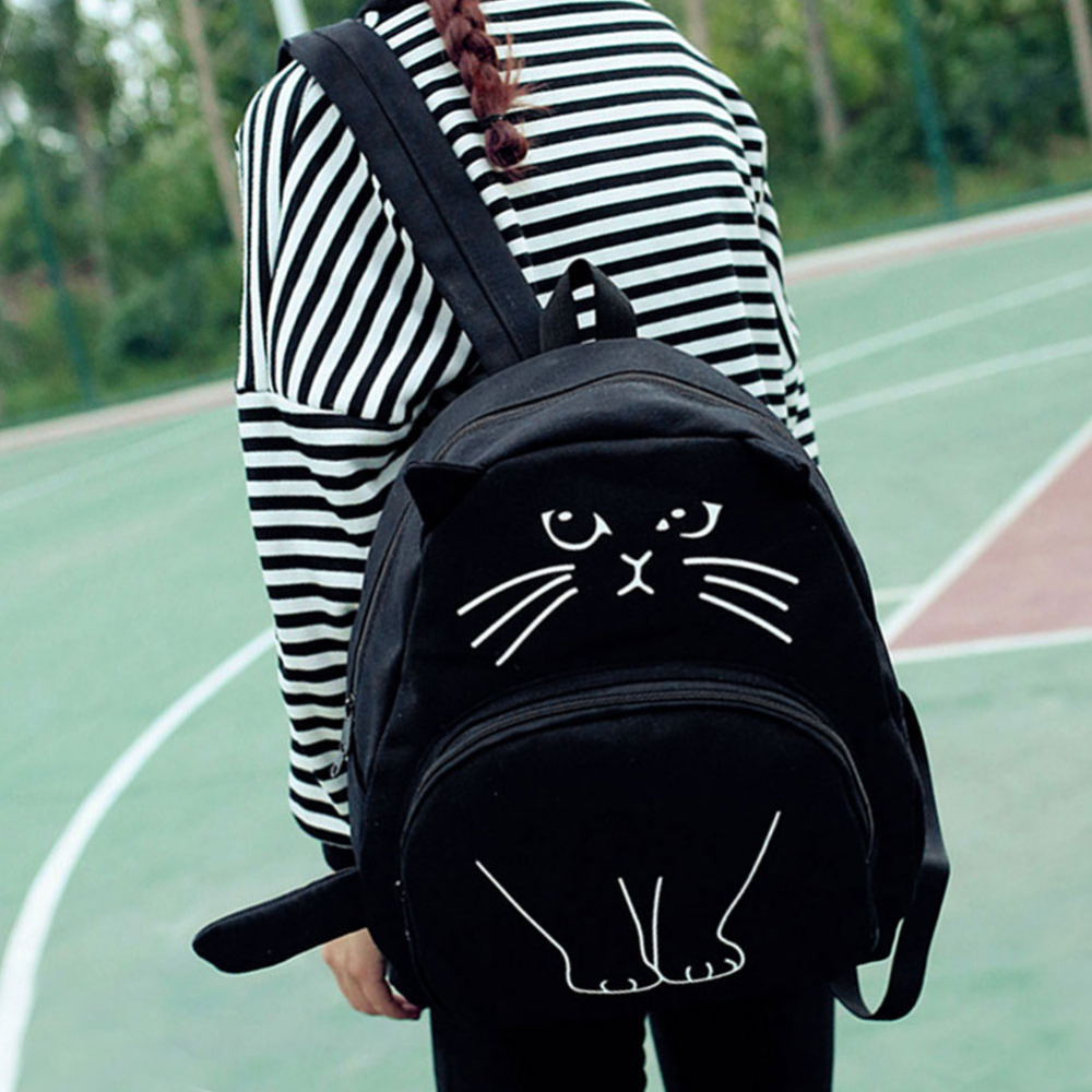 Lovely Cat Printing Backpack Women Canvas School Backpack For Teenagers Ladies Casual Cute Rucksack Bookbags Mochila Feminina #2