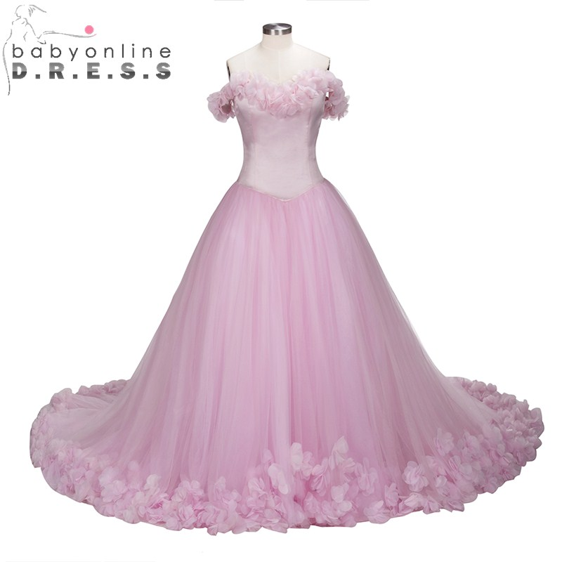 Babyoblinedress Luxury Pink Ball Gown Evening Dress with Flowers Sexy Blackless Sweetheart Evening Party Dresses Robe de Soiree