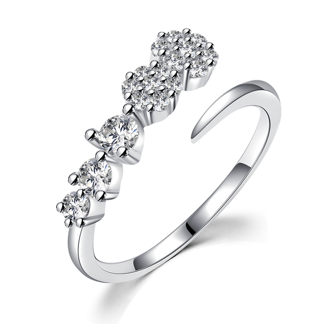 new trendy zircon ring rhinestone flowers adjustable elegant wedding rings for women valentines day gift jewelry - Elegant Wedding Rings