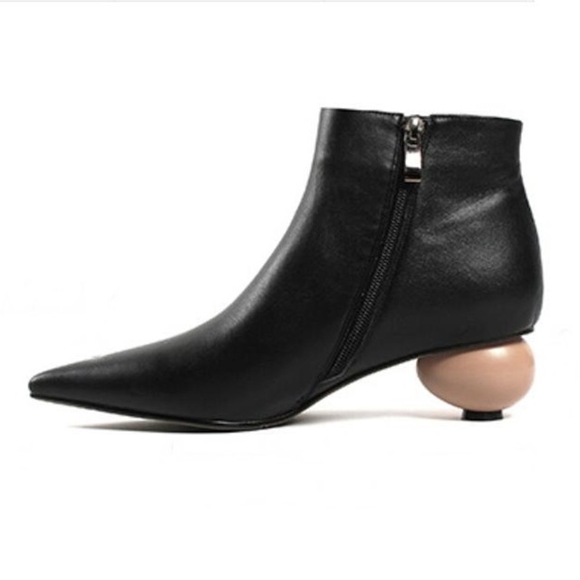 2018 Strange Mid Heel Ankle Boots For Women Side Zip New Design Fashion Pointed Toe Shoes Egg Heel Black Leather Boots For Girls|Knee-High Boots| |  - title=
