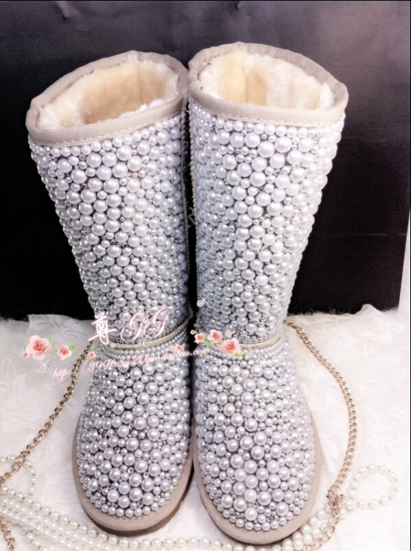 Real Photo !! 2016 Winter Boots Women Brand Knee High cc Boots Handmade big Rhinestone Pearl Winter Boots
