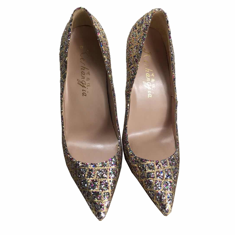 2018 spring new gold color pointed toe slip on high heels pumps keshangjia shallow mouth women