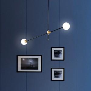 Image 3 - LuKLoy Post Modern Chandelier Branch Light Living Room Hall Iron Modo Glass Ball Popular Modern Pendant Lamp Lighting Fixture